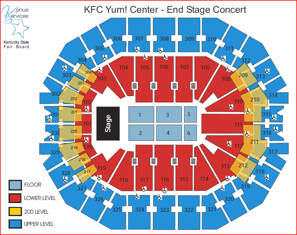Kfc yum center seating chart with rows elcho table