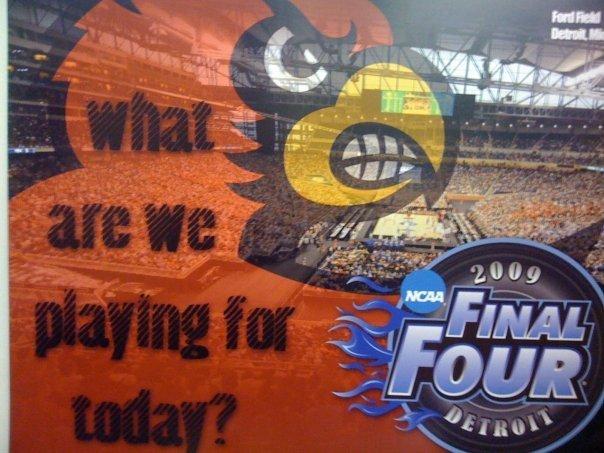 Poster in the University of Louisville locker room (Las Vegas Sun photo)