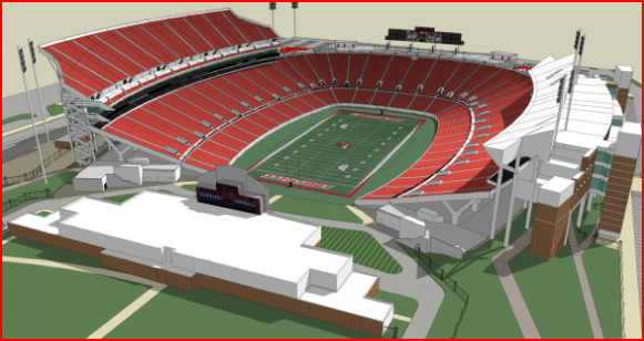 All seats are a brilliant red in the artist's rendering.