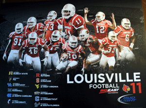 U of L football schedule posters at Thornton's