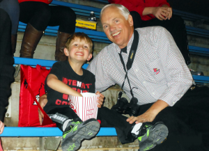 Ron Guthals and his grandson Byron were having a ball on Row FF in the rafters.
