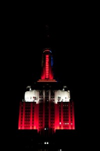 The Empire State Building is Red and Black, saluting the Louisville Cardinals.