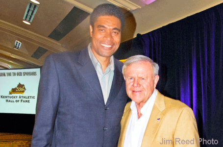 Pervis Ellison and Denny Crum (Jim Reed photo)