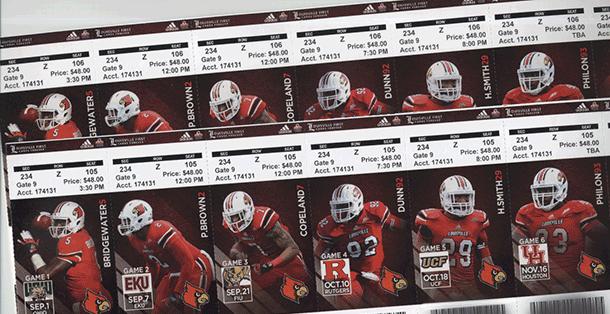 Louisville football tickets arriving