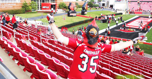 Once a Cardinal Bird, always a Cardinal Bird, as Jon Cecil, from Murray who once was the Cardinal Mascot, demonstrates after UofL's one-sided win over Florida