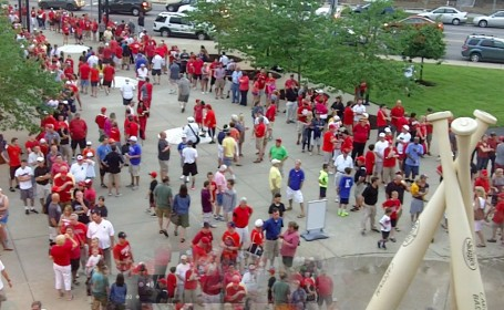 UofL fans line up outside Jim Patterson Stadium for a late night game.