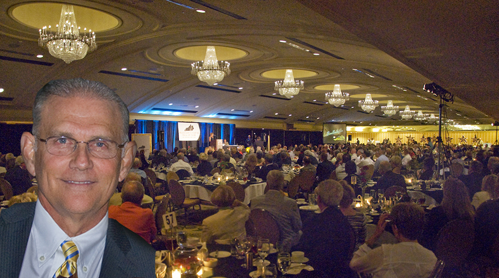 Paul Rogers, the voice of the Louisville Cardinals, honored before a full house at the Crown Plaza.