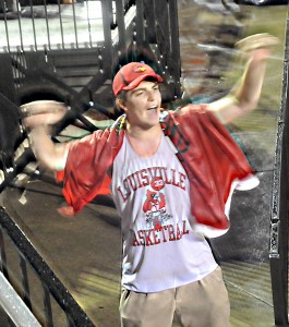 A drenched Creighton Haley, also a football team manager, kept the C-A-R-D-S cheering going all night.