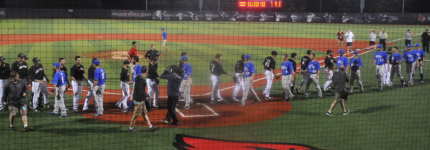 The UofL baseball bids farewell to Kentucky during the traditional handshakes after winning the Louisville Regional.