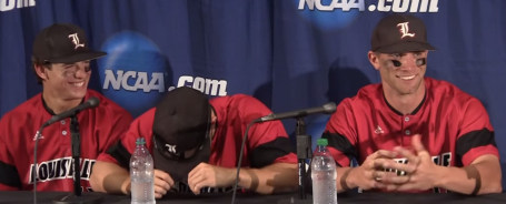 Cole Sturgeon (center) can't contain himself during a post-game press conference with Nick Solak and Zach Lucas.