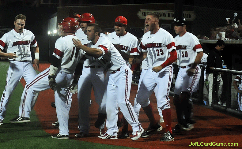Zach Lucas, No. 11,  goes into dance mode after scoring the go-ahead run in the eighth inning.