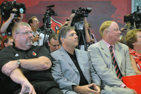 Kevin MIller (left) with Tom Jurich and James Ramsey at the ACC press conference.