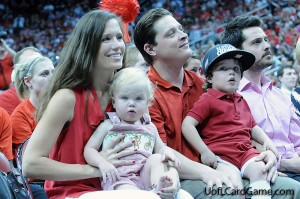 Mark and Lainey Jurich with sons at Louisville's 2013 NCAA celebration.
