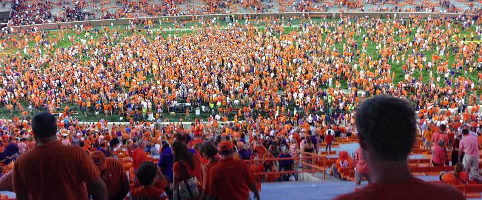 Clemson fans storm the field. (Paul Rogers photo)
