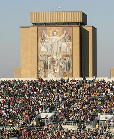 The 14-story Word of Life, also known as Touchdown Jesus, overlooking the south  end zone at South Bend.