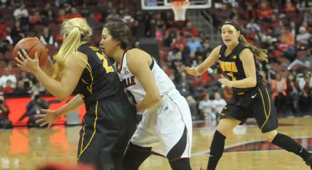 Jude Schimmel wasn't giving any wiggle room to Iowa's Ally Disterhoft.