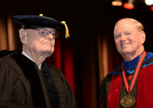 Sam Swope with Jim Ramsey at last spring's commencement ceremonies.