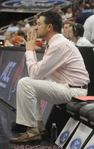 Rick Pitino contemplating a beatdown or a miracle as the second half begins.  The white coat was history.