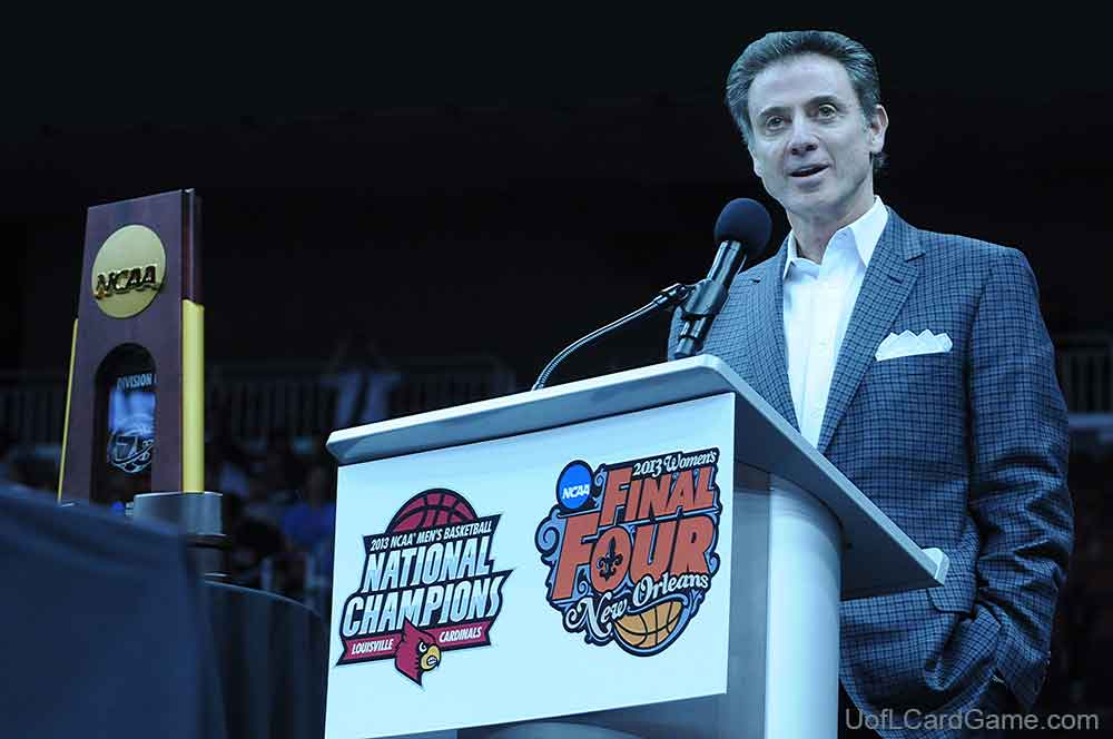 Rick Pitino celebrates his second NCAA championship at community celebration in 2013.