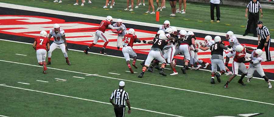 Jeremy Smith sees daylight and paydirt during the University of Louisville spring game.