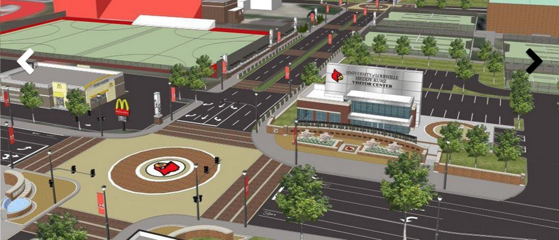 Artist's rendering of the new UofL entrance at the Floyd and Warnock streets intersection.