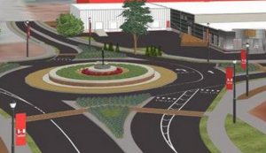 Rendering of improvements at Floyd Street and Cardinal Avenue.