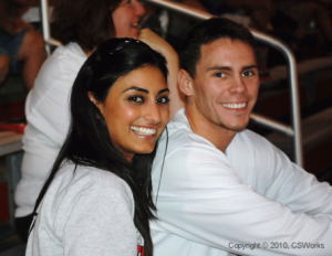 Kyle and Taraneh during their courtship at UofL, attending a soccer game in which Kyle's sister Katie was playing.