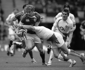 England's Jamie Noon tackles Ireland's Andrew Trimble