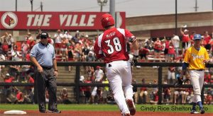 Brendan McKay rounds second after hitting his sixth home run. (Cindy Rice Shelton photo.)