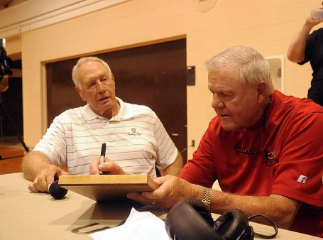 Bill Olson, former Athletic Director and Assistant Coach, reunites with Denny Crum.