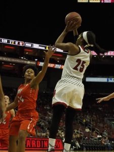 Asia Durr is back and feeling no pain for the University of Louisville women this season (Cindy Rice Shelton photo).