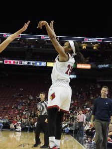 Asia Durr is hitting 52% of her 3-point attempts (Cindy Rice Shelton photo).