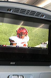 Lamar Jackson looking good on an eight-inch screen above the clouds.