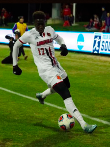 Mohamed Thiaw put UofL ahead in the first half with his 12th goal of the season (Cindy Rice Shelton photo).