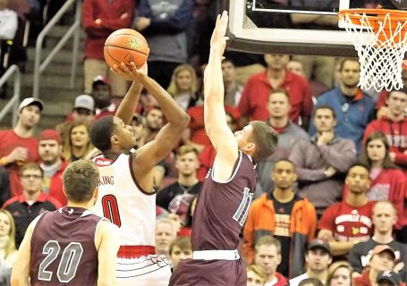 University of Louisville freshman V. J. King launches a shot over Bellarmine's Alex Cook (Cindy Rice Shelton photo).
