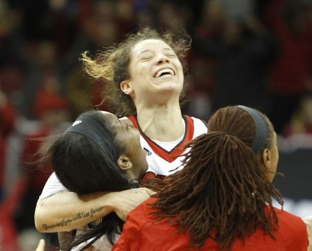 No one plays harder during a game or celebrates as much Briahanna Jackson after a Louisville win over Kentucky (Cindy Rice Shelton photo).