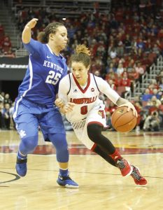 Briahanna Jackson goes right at UK Makayla Epps (Cindy Rice Shelton photo).