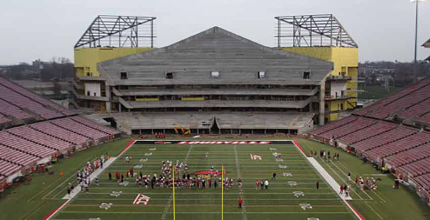 Cardinal Stadium expansion nearing the home stretch