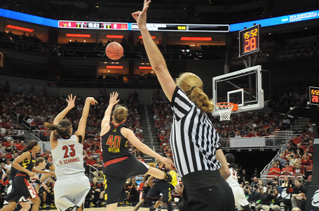 Shoni Schimmel for two over Maryland's Katie Rutan.