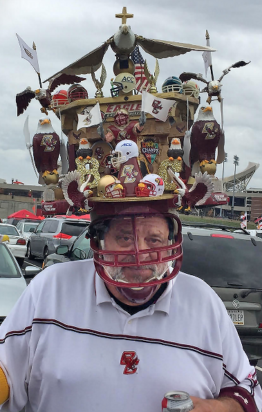 Pity the poor guys sitting behind Boston College fan Jack Hall.